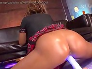 Stacked Japanese with bronze tan drinks a cocktail and offers squirting pussy to two friends 6