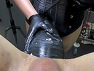 Mistress shoves enormous dildo inside slave's asshole and pushes vibrator to his dickhead 10