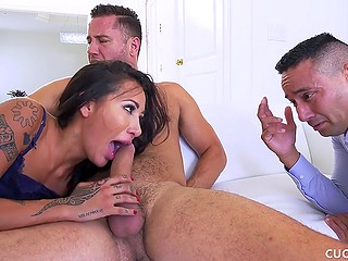 Marvelous housewife with great buttocks has wild fuck without paying attention to husband