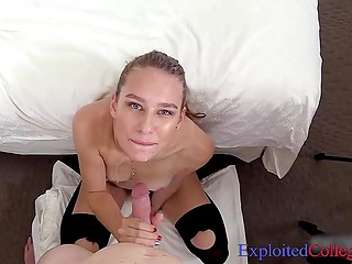 Agent received great blowjob in car then penetrated flawless redhead in hotel