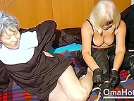 Old blonde with mask flogged woman dressed like nun then they were lying in bed next to each other and playing with vibrators 5