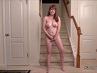 Cute woman could relax only when took off shoes and rubbed hairy pussy on stairs 5