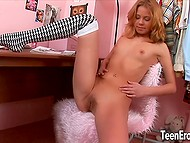 Long-legged colleen slowly undresses and uses pink vibrator to make peach wet 4