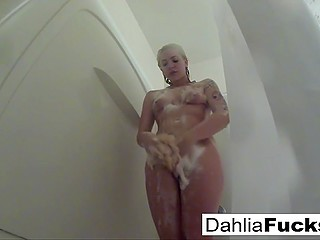 Awesome solo video in which spectator can see Dahlia Sky taking shower and masturbating