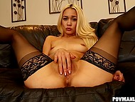 To curb her lust mighty man must give his strong dick for wild blowjob