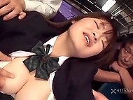 Stacked college girl from Japan enters the bus, where gets pussy owned by group of perverts