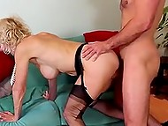 Plot of porn video is related to two mature women presenting wide holes for young penises 11