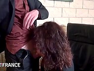Big-boobied French female with trimmed vagina penetrated by youngster on table 5