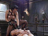 Slave was very thankful that short-haired brunette fucked his ass with strapon and used fucking machine 7