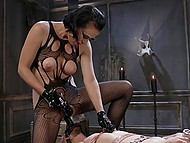 Slave was very thankful that short-haired brunette fucked his ass with strapon and used fucking machine 8