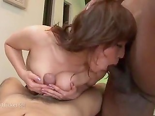 Black bruiser shows off muscles in front of Japanese woman and nails her together with husband