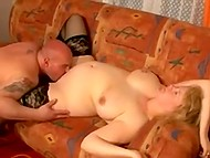 Fatty Norwegian mature got tired of lying on sofa and asked bald husband to fuck her cunt 7