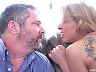 Bearded guy fucks sexy MILF while her husband just waits for pussy juice 10
