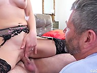 Bearded guy fucks sexy MILF while her husband just waits for pussy juice 5