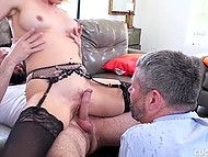 Bearded guy fucks sexy MILF while her husband just waits for pussy juice 6