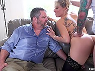 Bearded guy fucks sexy MILF while her husband just waits for pussy juice 8
