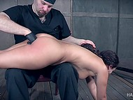Pervert spanked tied up sweetie with trimmed vagina and brought her thrills in basement 4