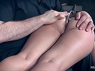 Pervert spanked tied up sweetie with trimmed vagina and brought her thrills in basement 6