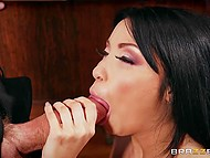 Elegant Rina Ellis gave deepthroat blowjob and had rough sex with singing teacher 4