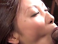 Lonely Japanese housewife was pleasing pussy in kitchen when got spotted by neighbor-farmer 9