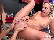 Playful lesbians have passion for peeing on each other and masturbating shaved vaginas with sex toy 5
