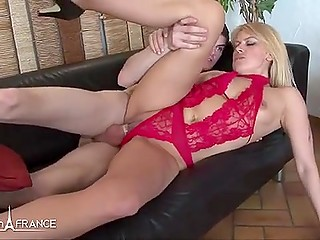 French MILF in red lingerie was in good mood that became the key to pleasant anal fuck