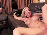 Man calmly watched his full-bosomed wife taking care of stepson's hard cock 7