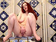 Red-haired girl with great natural hooters found quiet place to masturbate vagina 4
