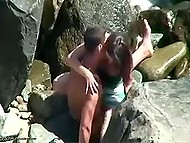 Bystander filmed how man fucked his flame on the rocks and it took him two minutes to cum