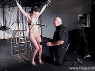 Girl with gag and nipple clamps doesn't feel like in heaven but man treats her with electric current