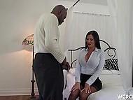 Overexcited brunette in sexy lingerie invited black partner for the long-awaited sex 6