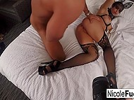 Luxurious pornstar Nicole Aniston in fashioned lingerie and with beautiful mask fucked in bedroom 7