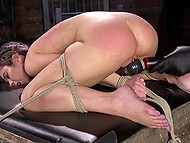 Flogging and vibrator were included in program that dominant man prepared for tied up girl 10