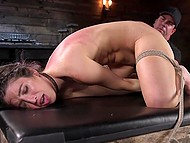 Flogging and vibrator were included in program that dominant man prepared for tied up girl 11