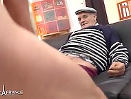 Old man helps young people to have amazing sex in different poses on couch 9