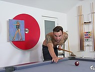 Strip billiards finished for dark-haired beauty and tattooed dude with severe fuck 4