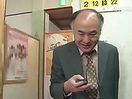 Old Japanese man finds the best way to use time remote controller in female sauna 4