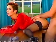 Man with ponytail smokes in loneliness when trouble-free German MILF joins him to have some fun 6