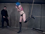 Mysterious guy is tying hot teen with blue hair and explores her juicy hole in a dirty way 5