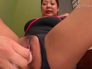 Sensei in kimono demonstrates how to put out a candle with assistant's pussy squirt 8