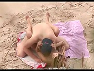 Spy with camera records dude in cap polishing sissy of his skinny beloved on the beach 8