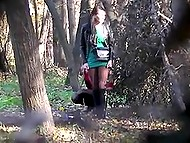 Voyeur takes a strategic position and captures some random females peeing behind the bushes 9