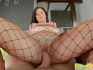 High-quality gonzo clip of whorish brunette getting big natural tits jizzed by fucker
