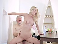 Aged bachelor calls young blonde cleaner, whose lustful pussy is ready even for old cock