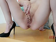 Young coquette finds her toy for special needs and pushes it deep in wet pussy 8