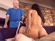 Stunning wife is ready to be drilled by strong guy while her husband is watching