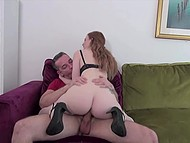Curious babe wants to know what is in his pants and test it with her mouth 4