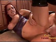 Big man gets turned on seeing red-haired MILF in latex suit and owns her vagina in kitchen 10