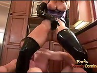 Big man gets turned on seeing red-haired MILF in latex suit and owns her vagina in kitchen 6