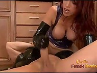 Big man gets turned on seeing red-haired MILF in latex suit and owns her vagina in kitchen 7